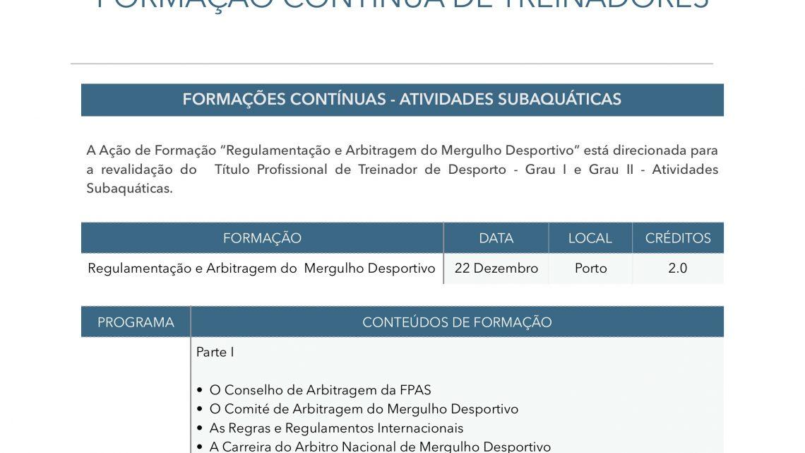 FCT – Regulamentação e Arbitragem do Mergulho Desportivo